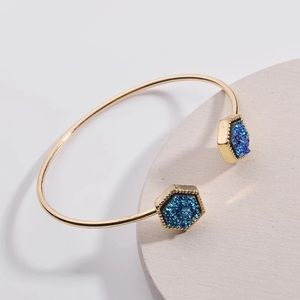 Hexagon Adjustable Druzy Bangle
